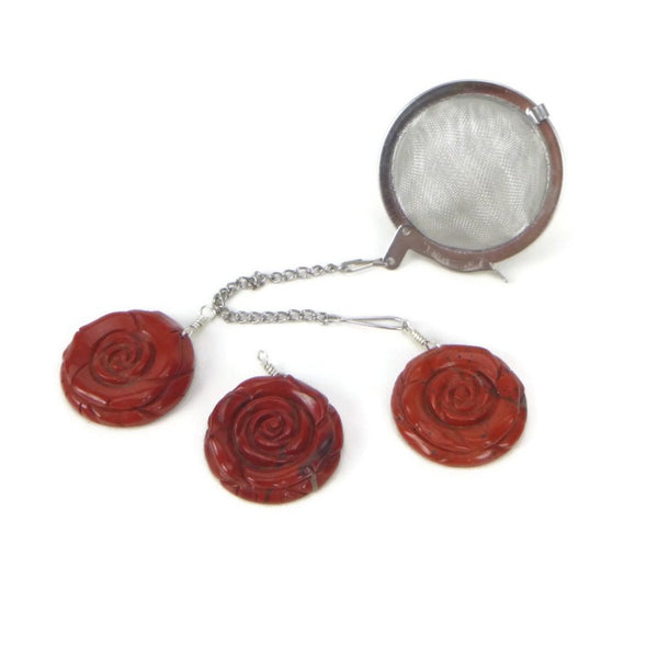 Tea Infuser with Red Jasper Rose Charm