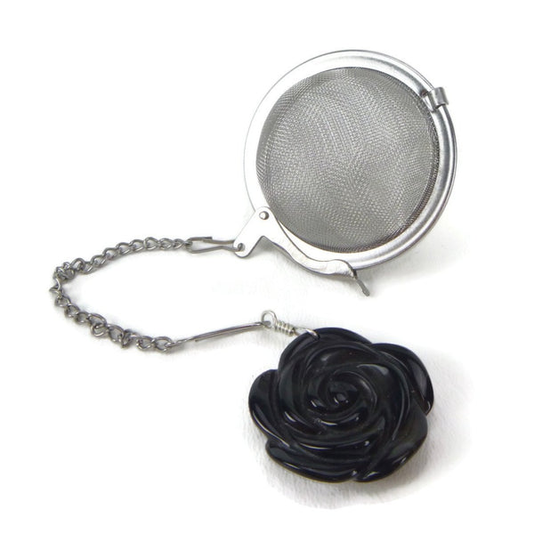 Tea Infuser with Black Rose Charm