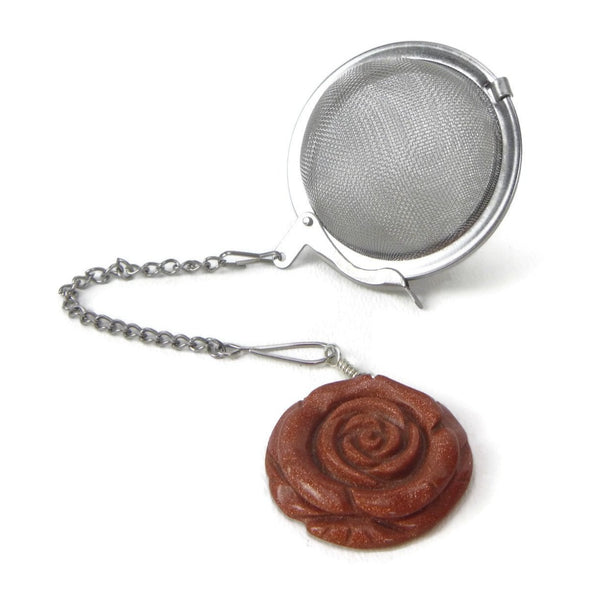 Tea Infuser with Goldstone Rose Charm