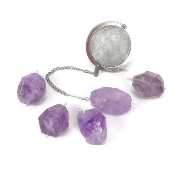 Tea Infuser with Chunky Amethyst Charm