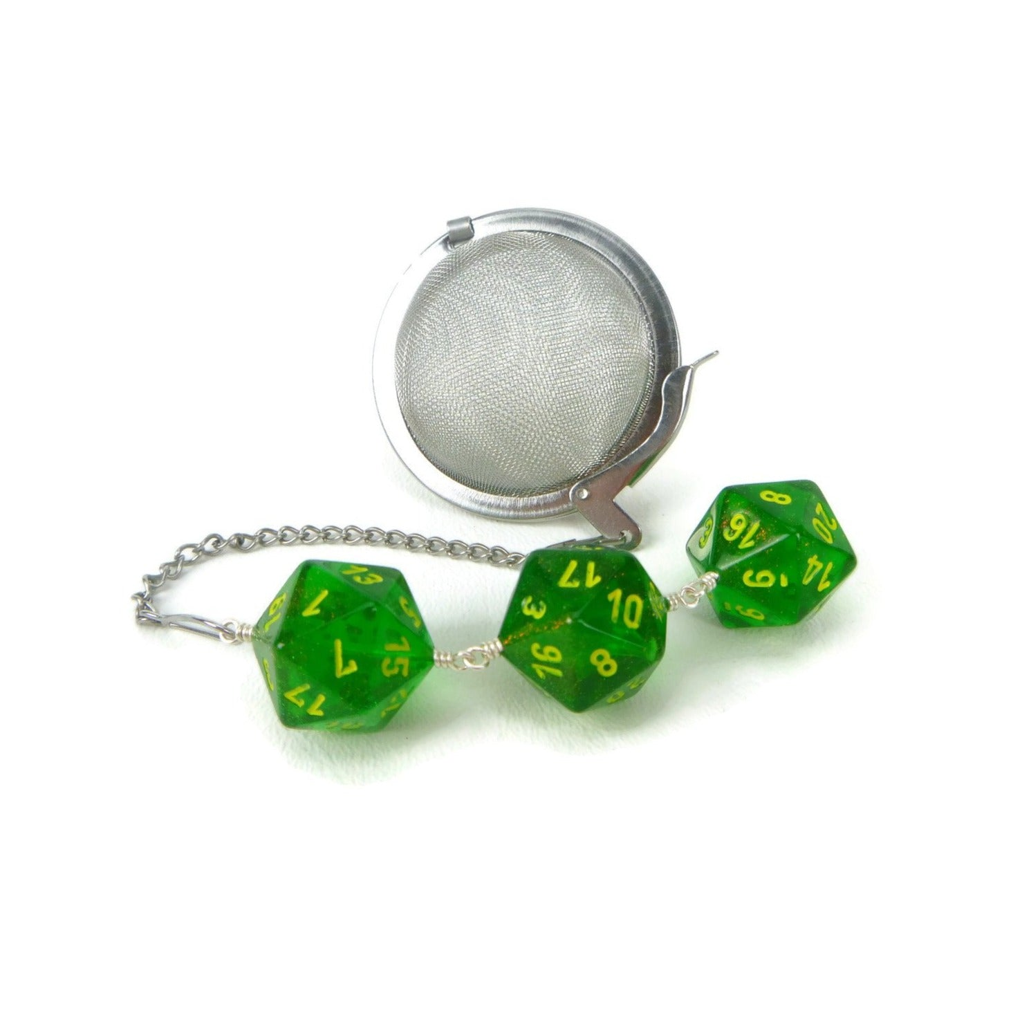 Tea Infuser with green borealis dice trio