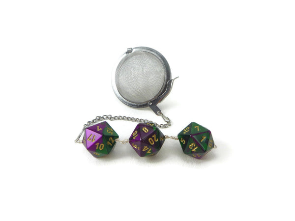Tea Infuser with Green and Purple Dice Trio