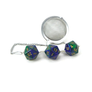 Tea Infuser with Green and Blue Dice Trio