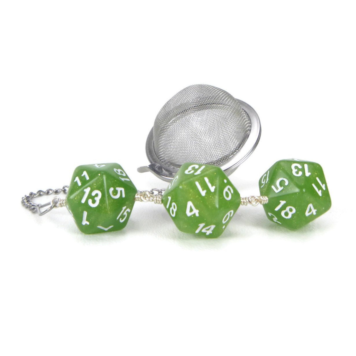 Tea Infuser with Green Pearl Dice Trio