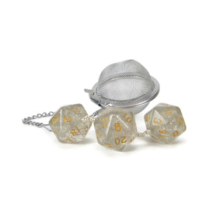 Tea Infuser with Soft Grey Glitter Dice Trio