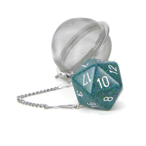 3 inch tea infuser ball with large d20 - Sea Blue
