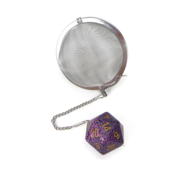 3 Inch Tea Infuser Ball with Large d20 - Hurricane Purple