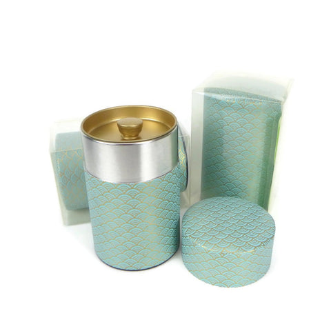 Teal Fish Scale Washi Paper Canister - 3.5oz