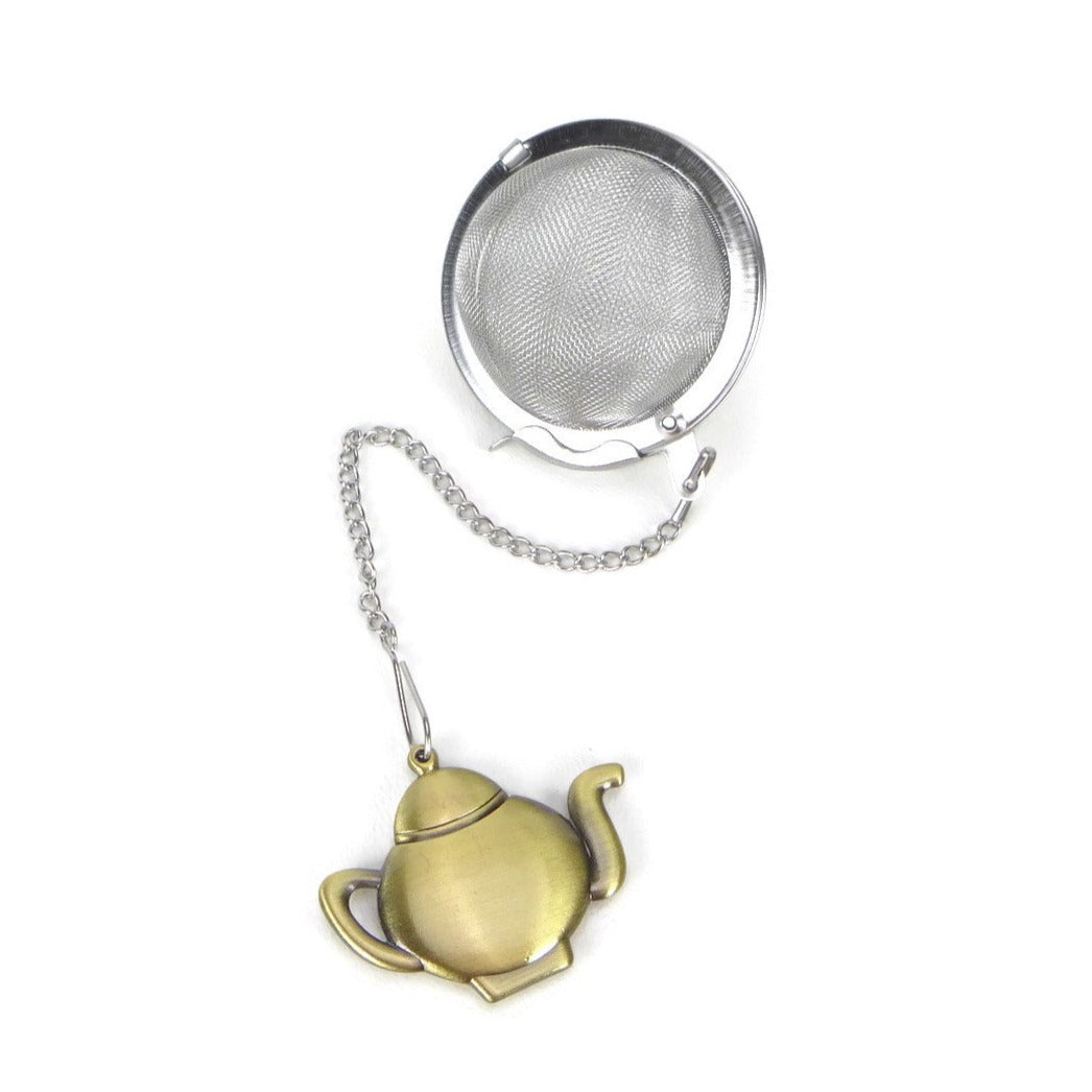 Tea Infuser with Bronze Teapot Charm