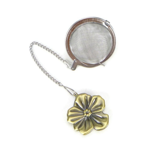 Tea Infuser with Bronze Flower Charm