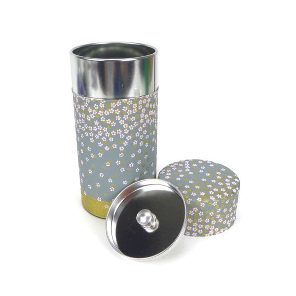 Gray Blue with Purple and Gold Flowers Washi Paper Canister - 5oz