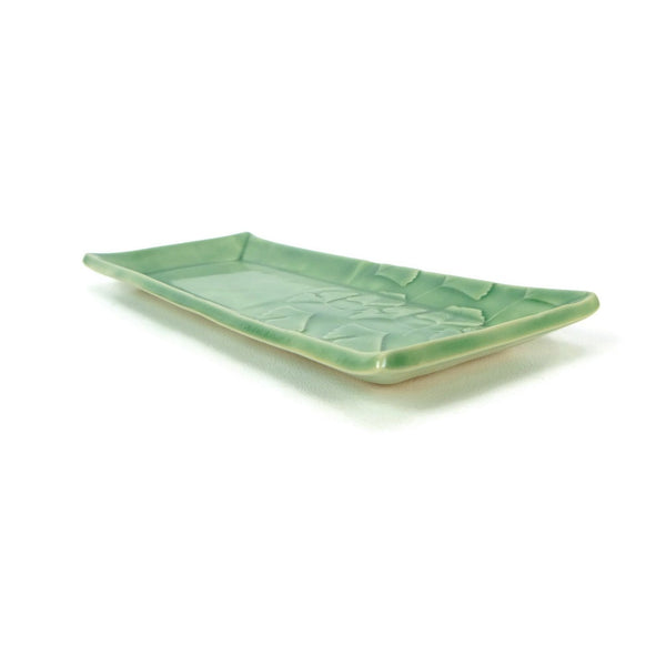 Jade Green Rectangular Ginkgo Plate