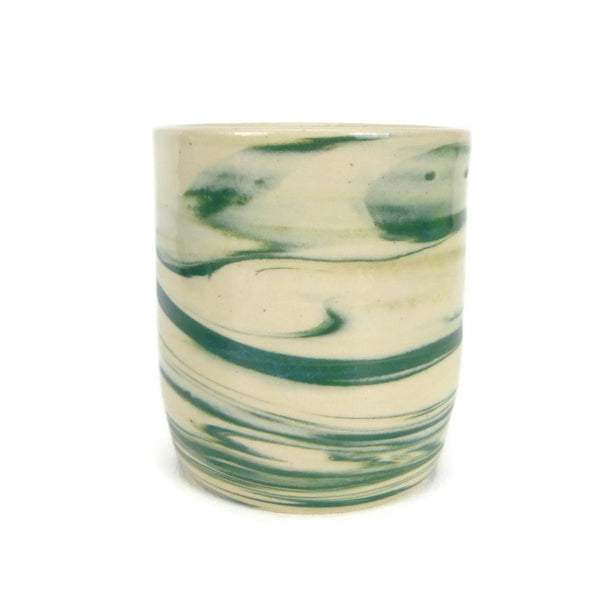 Swirled Teal and White Cup #1