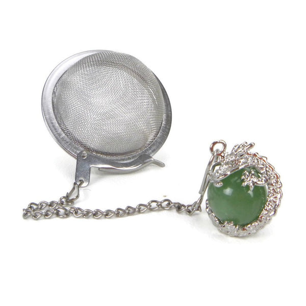 Tea Infuser with Dragon Wrapped Aventurine Charm
