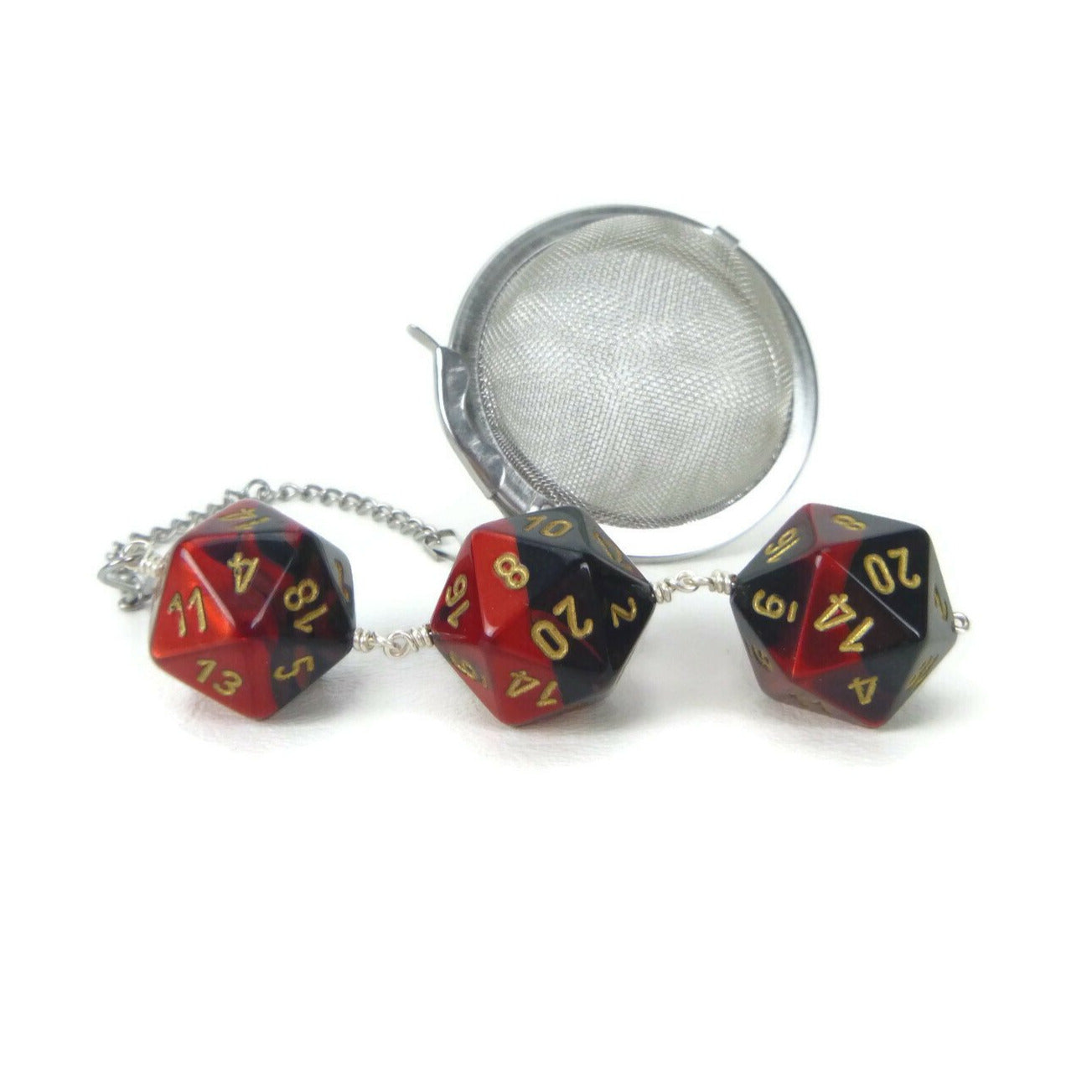 Tea Infuser with Red and Black Dice Trio