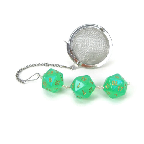 Tea Infuser with Light Green Borealis Dice Trio
