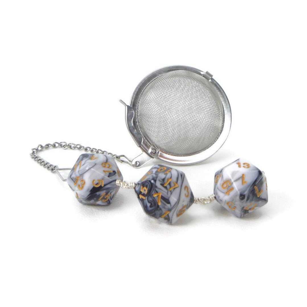 Tea Infuser with Marbled Black and White Dice Trio