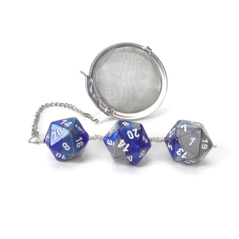 Tea Infuser with Blue and Silver Dice Trio