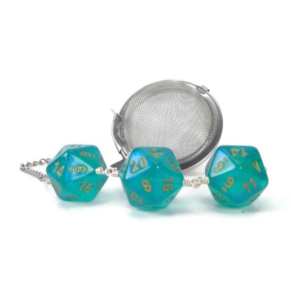 Tea Infuser with Teal Borealis Dice Trio