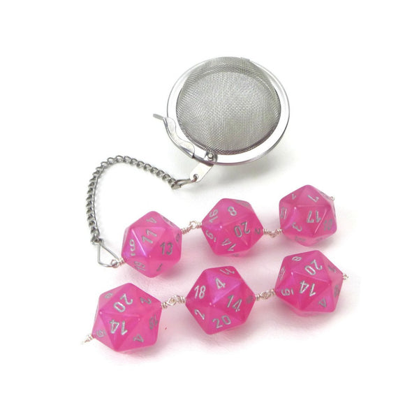 Tea Infuser with Pink Borealis Dice Trio