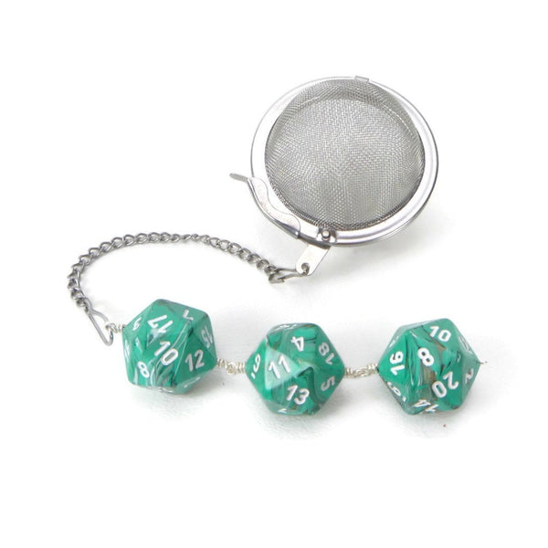 Tea Infuser with Marbled Copper and Teal Dice Trio