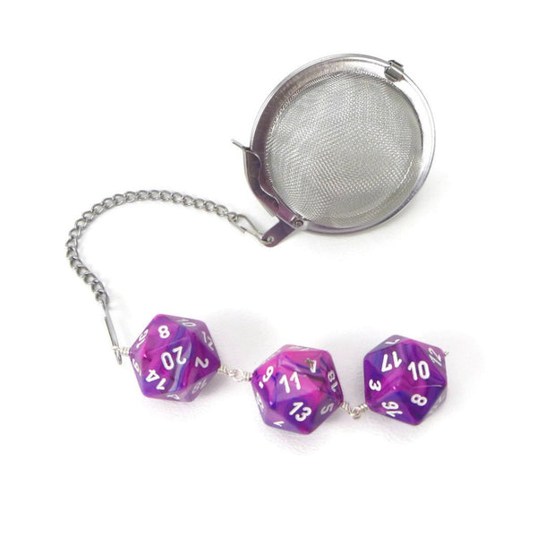 Tea Infuser with Swirled Pink and Purple Dice Trio