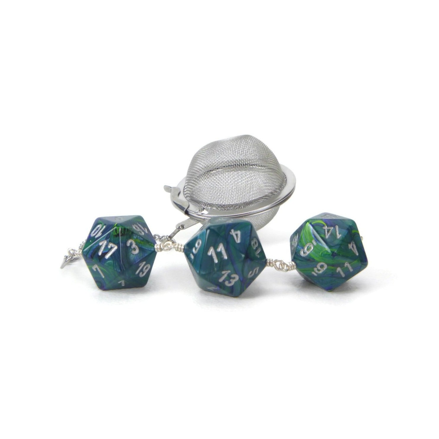 Tea Infuser with Green and Blue Swirled Dice Trio