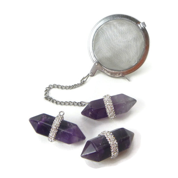 Tea Infuser with Amethyst Double Point Charm