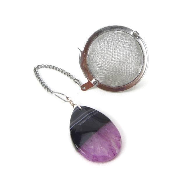 Tea Infuser with Black and Purple Agate Teardrop Charm