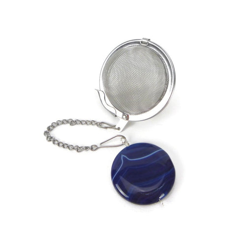 Tea Infuser with Blue Agate Coin