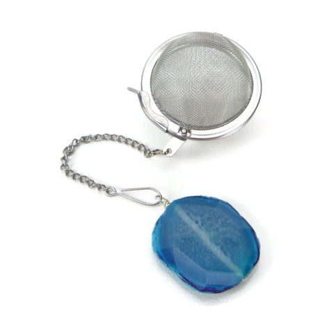 Tea Infuser with Blue Agate Slice Charm