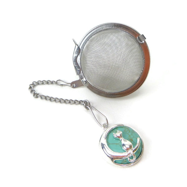 Tea Infuser with Howlite and Moon Cat Charm