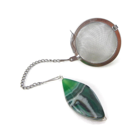 Tea Infuser with Green Agate Charm