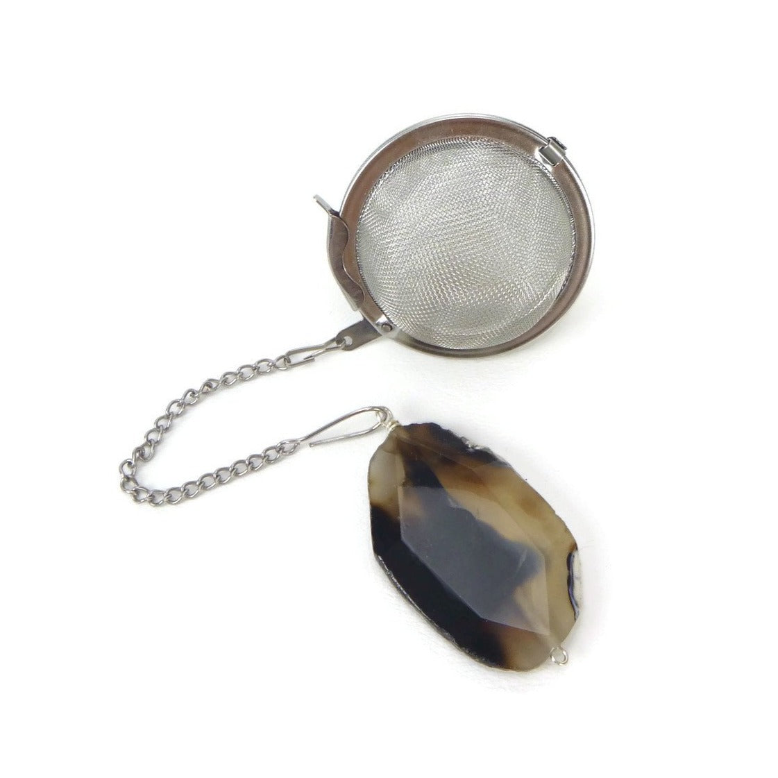 Tea Infuser with Black and Brown Agate Charm