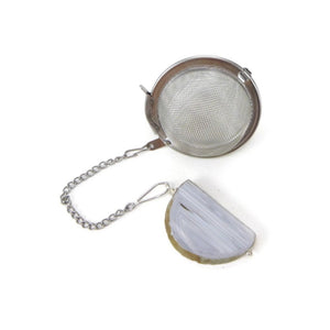 Tea Infuser with Light Blue Banded Agate Charm