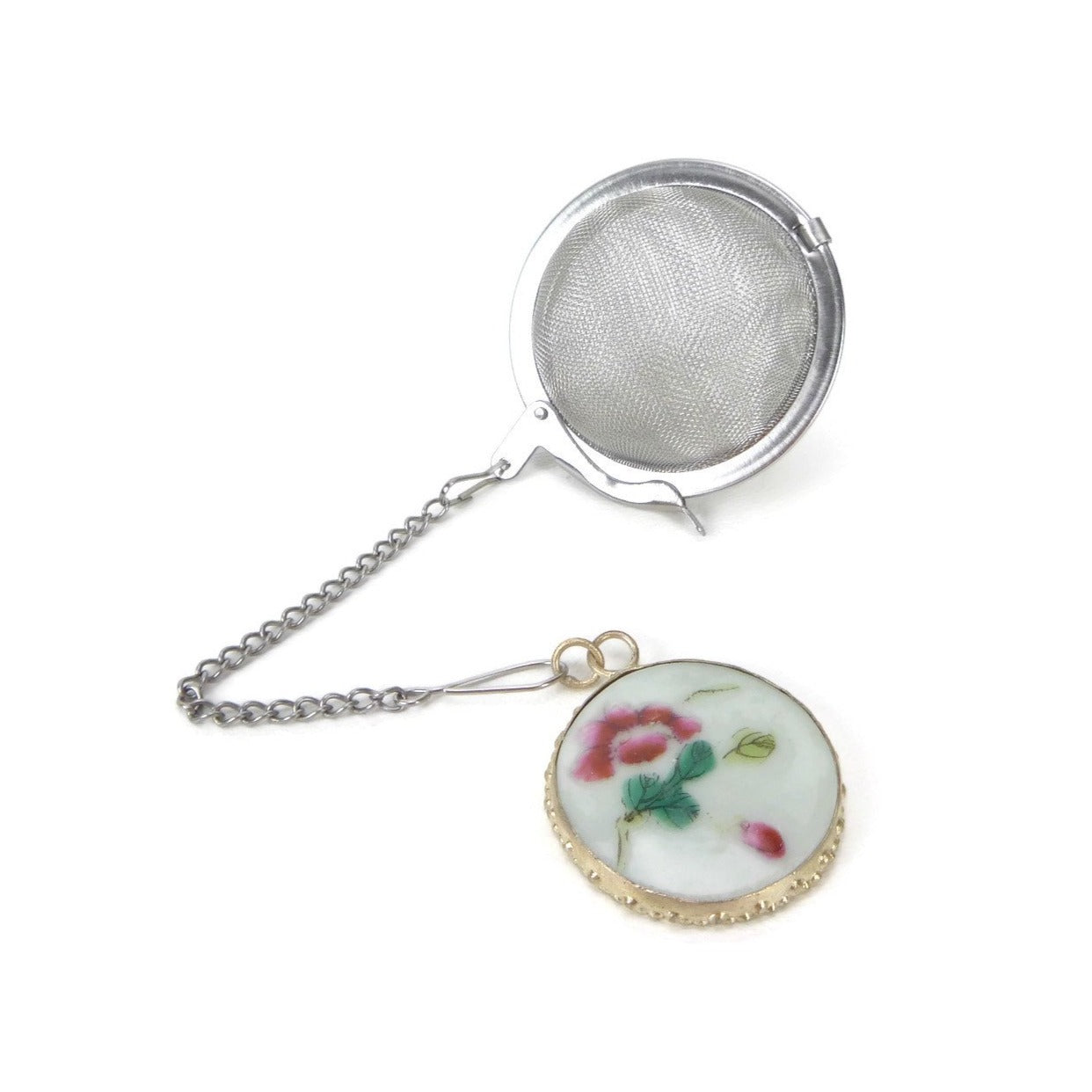 Tea Infuser with Antique Pottery Shard Charm