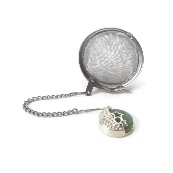 Tea Infuser with Aventurine and Crescent Moon Charm