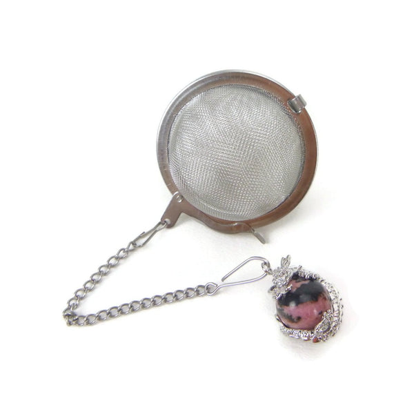 Tea Infuser with Dragon Wrapped Rhodonite Charm