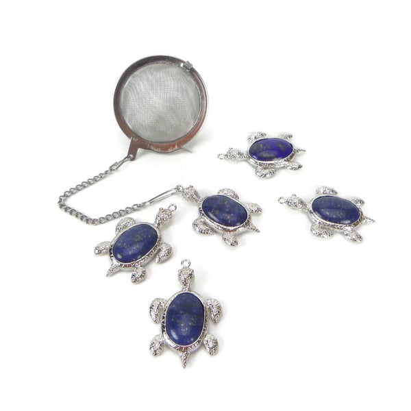 Tea Infuser with Lapis Turtle Charm