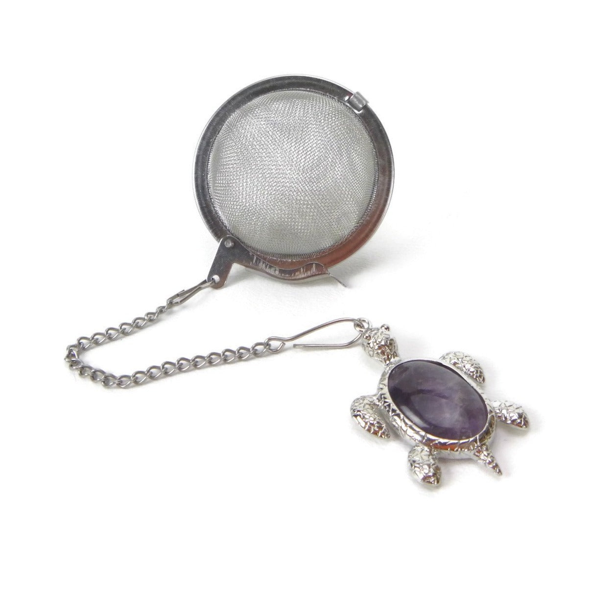 Tea Infuser with Amethyst Turtle Charm