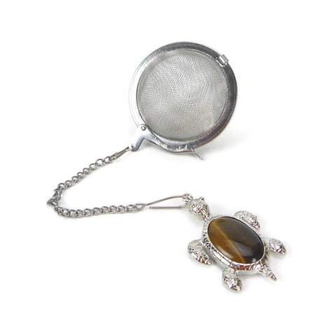 Tea Infuser with Tiger's Eye Turtle Charm