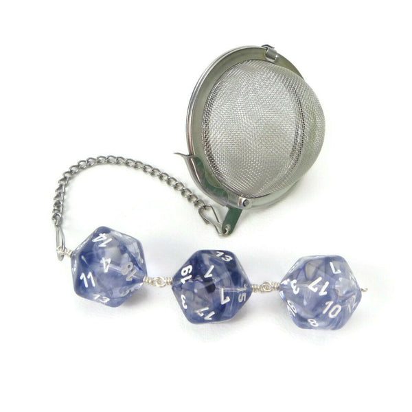 Tea Infuser with Navy Blue and Clear Nebula Dice
