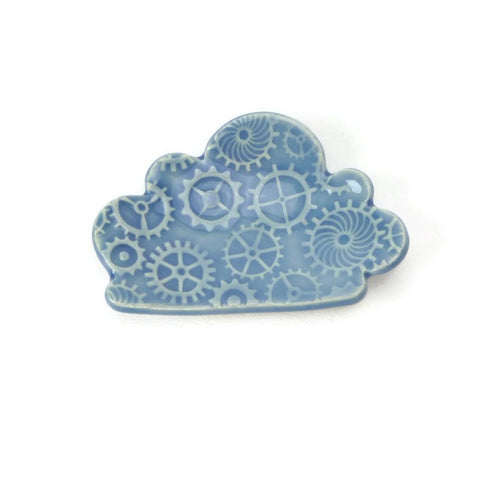 Cloud Shaped Trivet in Sky Blue with a Cog Pattern