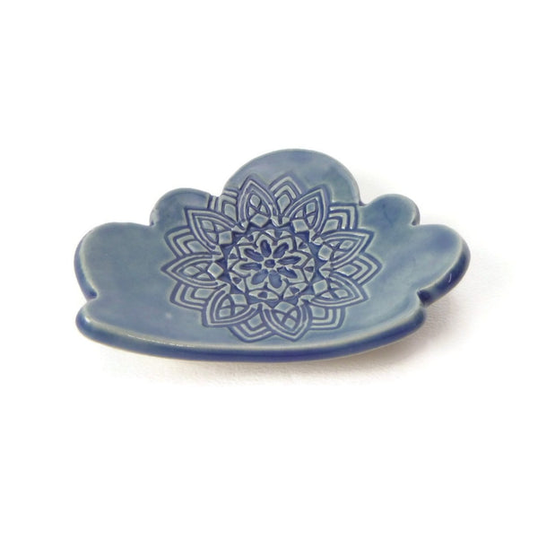 Cloud Shaped Trivet in Sky Blue with Mandala Pattern