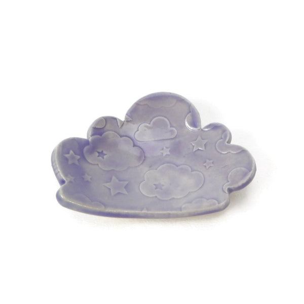 Cloud Shaped Trivet in Lilac with Star and Cloud Pattern