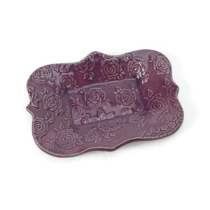 Large Mulberry Purple Scalloped Trivet with Rose Patterning