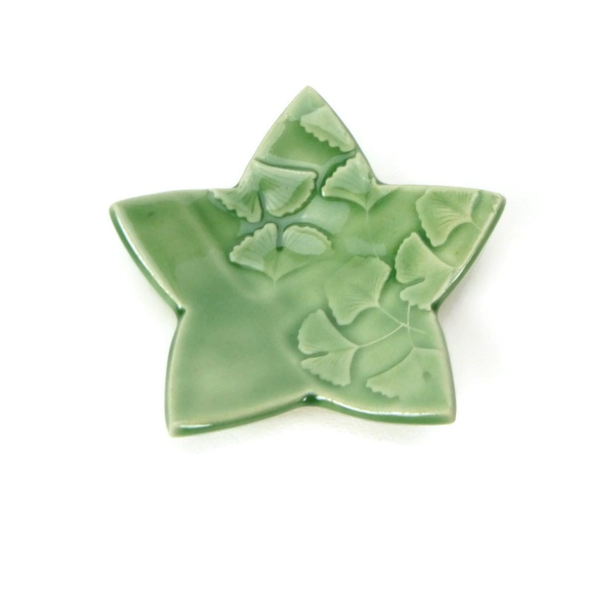 Forest Green Star Shaped Trivet with Ginkgo Pattern