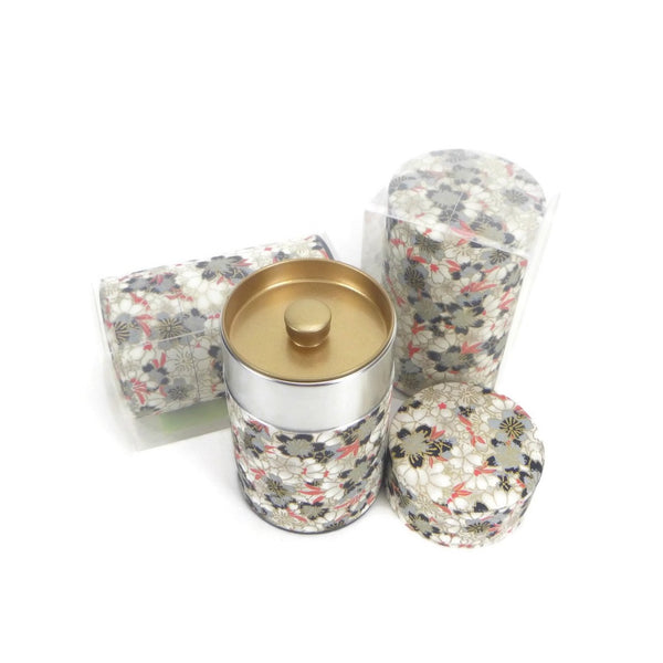 Black and Red Floral Washi Paper Canister - 3.5oz