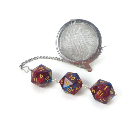 Tea Infuser with Marbled Red and Blue Dice Trio
