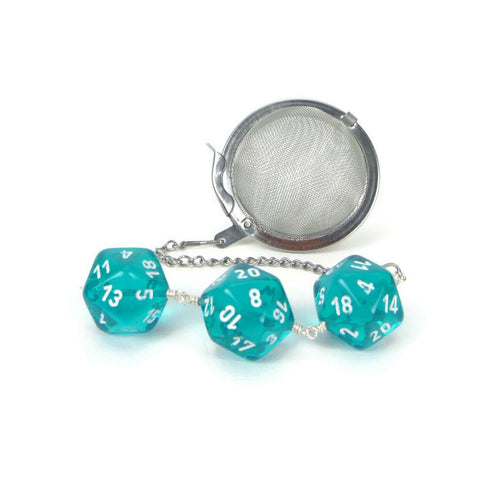 Tea Infuser with Transparent Teal Dice Trio